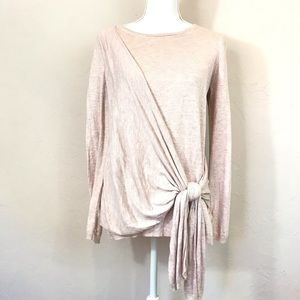 A New Day Heathered Pink Front Tie Sweater Medium